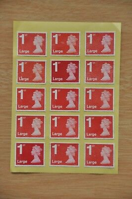 100 Red Security Unfranked 1st, First Class Large Stamps, Gummed, peel and stick