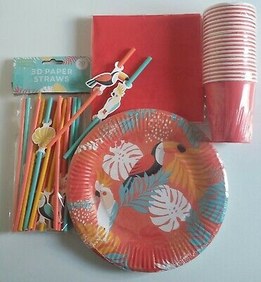 TROPICAL HAWAIIAN Summer Cocktail Garden Tea Party Plates Cups Straws SERVES 20