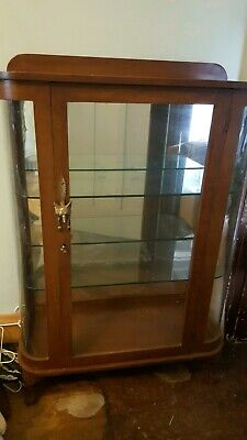 Vintage Curved Glass Ends Display or China Cabinet