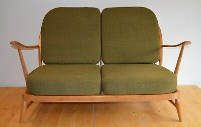 Ercol Windsor 203/2 Seat Compact Sofa - Restored & Upholstered In Soft Green