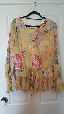 V by Very size 20 floral chiffon blouse with fluted cuffs in yellow