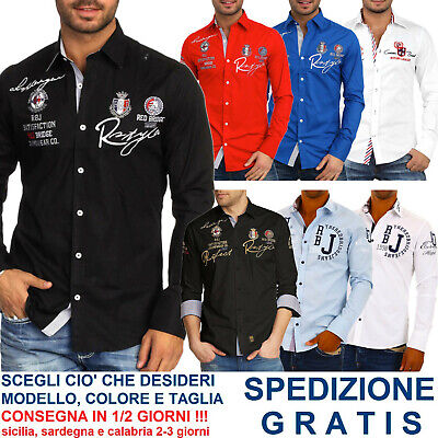 Camicia da Uomo Regular Fit a Maniche Lunghe Casual Elegante per Moda Fashion