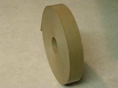 "4 ROLLS - 1"" x 500 Feet Each - Water Activated NATURAL TAN KRAFT PAPER TAPE"