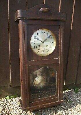 Antique 1930's Oak Cased Wall Clock with Glass Paneled Door (Pendulum and Key)