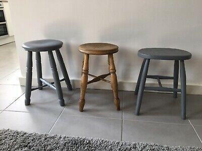 Antique Pine Trio Of Stools Annie Sloan Painted Scandi Look