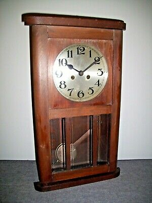 Antique 1930's Oak Cased Wall Clock with Glass Paneled Door (Pendulum Chiming)