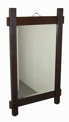 Vintage Rustic Arts & Crafts Salvaged Oak Wall Mirror Beveled Glass