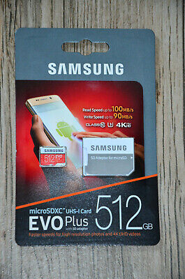 Samsung Evo Plus 512GB Micro SD Speicherkarte Class 10,UHS-I 4K Ultra HD+Adapter