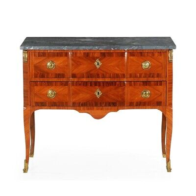 FRENCH ANTIQUE COMMODE   Ormolu Mounted Kingwood w/ Marble Top Chest of Drawers