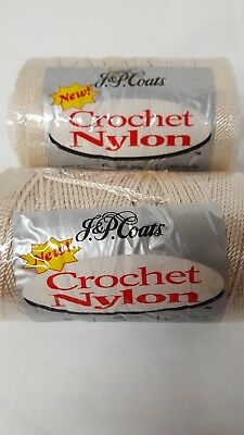J & P Coats Nylon Crochet Thread Natural #16 Off White 150 yd  Lot of 2