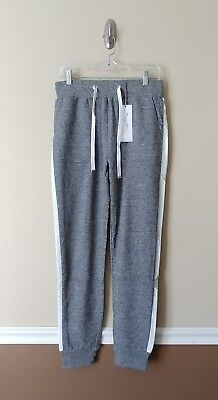 X by Gottex Terry Jogger Pants L Heather Gray w White Stripe Designer $93