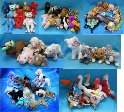 Ty Beanies ALL long retired BEARS ANIMALS BIRDS FISH DOGS CATS