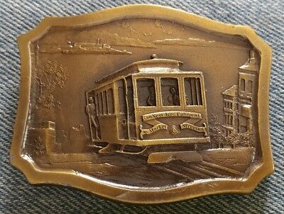 Cable Car San Francisco California Market Streets Vintage Belt Buckle Imc 1977