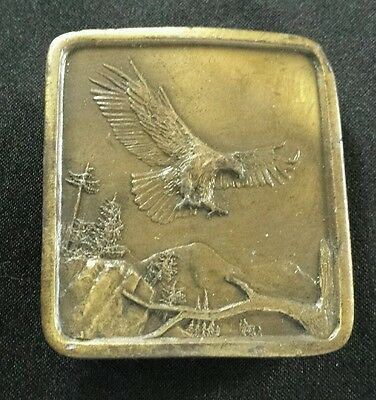 Bald Eagle Landing Brass Toned Vintage Belt Buckle Indiana Metal Craft 1977