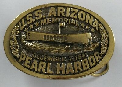 U.s.s Uss Arizona Memorial Pearl Harbor Limited Edition Vintage Belt Buckle 1983