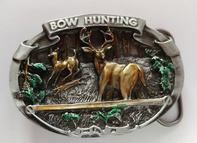 Bow Hunting Buck Deer Belt Buckle C&J Inc. Made In Usa 1986