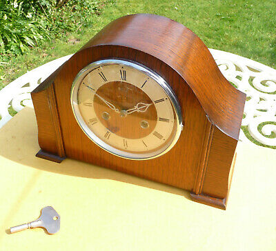 Vintage restored 1949 Smiths / Enfield striking mantle clock  with original key