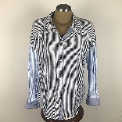 7293964a4 Free People Cape Town Striped Blue White Button Down Blouse L Large Split  Back