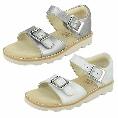 61c7fc8b10 Girls Clarks 'Crown Bloom T' White Or Silver Leather Casual Sandals - F &