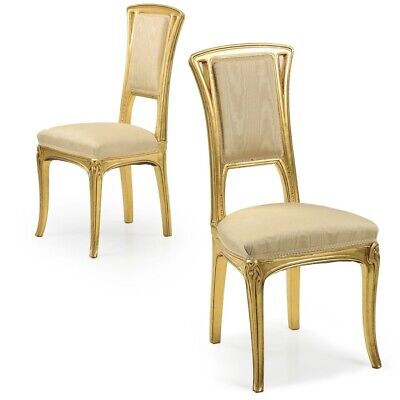 ART NOUVEAU CHAIRS | French Antique Pair of Carved Giltwood Side Chairs | 20th C