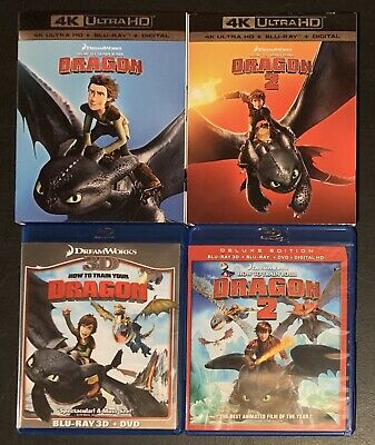 How to Train Your Dragon 1 & 2 (4K UHD / Blu-ray 2D + 3D) Dreamworks 6-Disc LOT