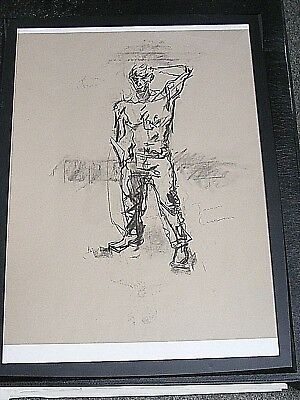 Figure drawing expressive, charcoal / paper, male man standing, jeans, A2 size @
