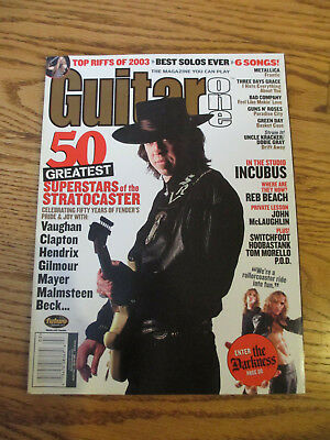 GUITAR ONE - FEBUARY 2004 - GUITAR MAGAZINE - SRV and GREATS of the STRATOCASTER