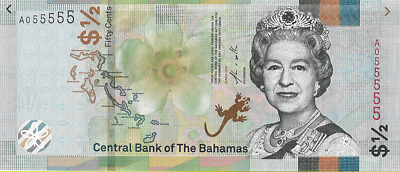 Bahamas Queen Elizabeth II 2019 1/2 Dollar 50 Cents Banknote UNC Fancy Number
