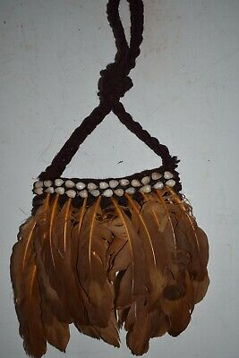 Orig $449 Papua New Guinea Feathered Ritual Bag 12In Prov