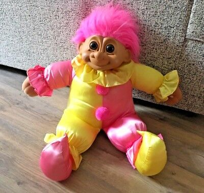 "Vintage Large Russ Troll Doll 'Clown Outfit' Soft Toy Plush- Pink Hair- 23"" Tall"