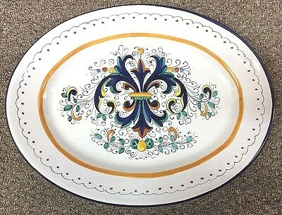 Deruta Pottery-15x11,1/2in. Oval Ricco-made in Italy made/painted by hand