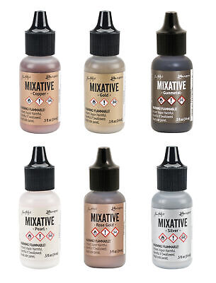 Ranger Tim Holtz Alcohol Ink Metallic Mixatives, 6-Color Set (Silver, Gold…)