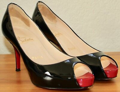 factory authentic 210a1 a55ff CHRISTIAN LOUBOUTIN BLACK Mater Claude 85 Peep Toe Pumps ...