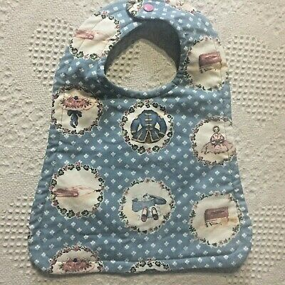 Reversible blue baby bib vintage inspired