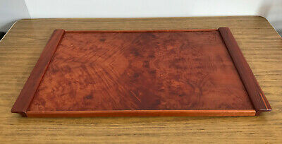 """Vintage Wooden Tray with Yew Veneer 22"""" x 14"""" Super Quality Serving Tea Art Deco"""