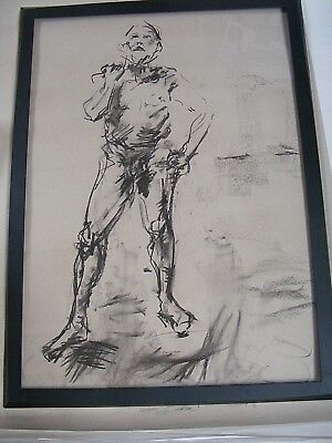 Figure life drawing nude expressive, charcoal/paper, man standing, A1/A2 size @