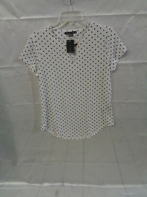 Suzy Shier Women's White Blouse Black Polka Dot Short Sleeve Size S Small