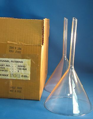 2 Kimax Glass Filling Funnels Long Stem 150mm ID 28980-150