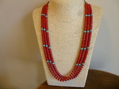 Red Coral And Turquoise & Silver Native American Navajo Necklace