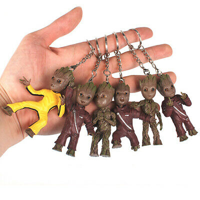 Cute Baby Groot Action Guardians of The Galaxy Treeman Figure Keychain Keyring