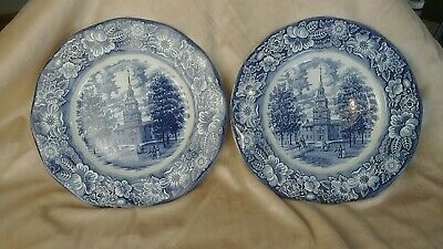 """2 Staffordshire LIBERTY BLUE 9-7/8"""" Dinner Plates MINT Independence Hall Fast Sh"""