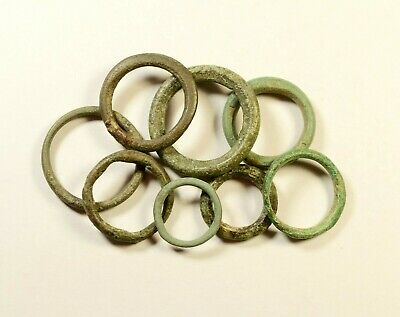 Exchange Before Coins - Rare Lot Of 8 Celtic Bronze Proto-Money Rings -08