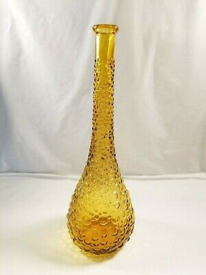 Decanter Genie Bottle Mid Century Amber Glass Empoli Made in Italy Vintage Tall