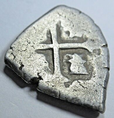 1600's Spanish Silver 1 Reales Cob Piece of Eight Real US Colonial Treasure Coin