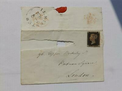 (4452) 1840 Penny Black On Cover, Red Mx Aug 11 1840 Ilminster Cancel
