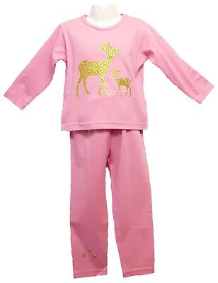 Girls Pink Pyjamas With Gold Glitter Mother & Baby Deer  Age 3-4
