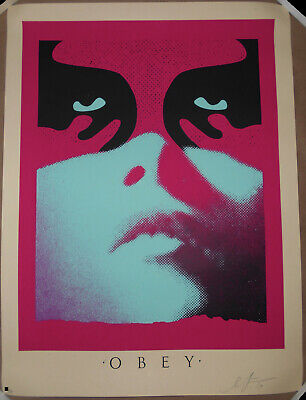 Shepard Fairey Obey Shadowplay Blue Screen Print Poster Signed #/350 Shadow Play