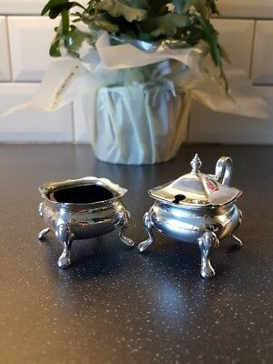 Vintage Silver Plated Lidded Salt & mustard. Blue Glass