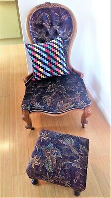 Victorian nursing chair & matching stool+scatter cushion / Liberty fabric