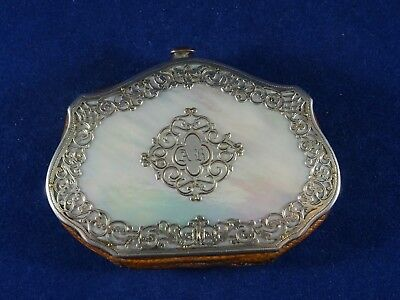 Beautiful Antique French Coin Purse, Silver Plate and Mother of Pearl, c1890